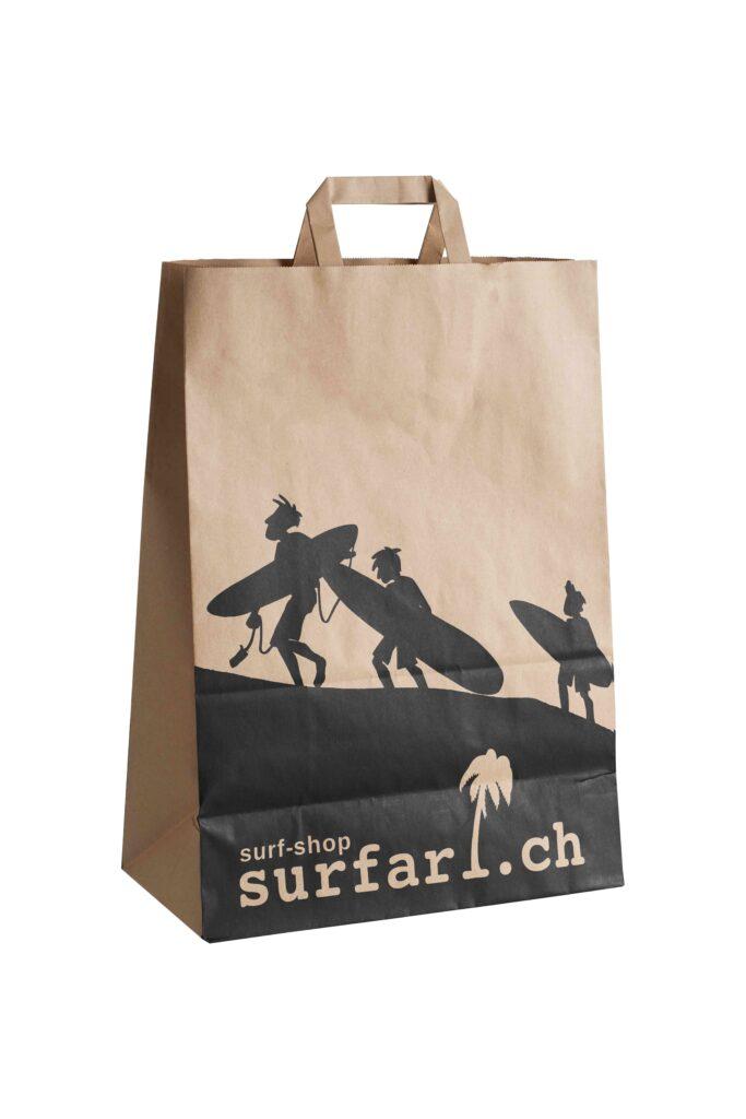 Papiertragetasche Papierhenkel Druck Logo Werbemittel Braun Weiß Papierstärke Logo-Druck Einkaufstasche Shopping-Bag