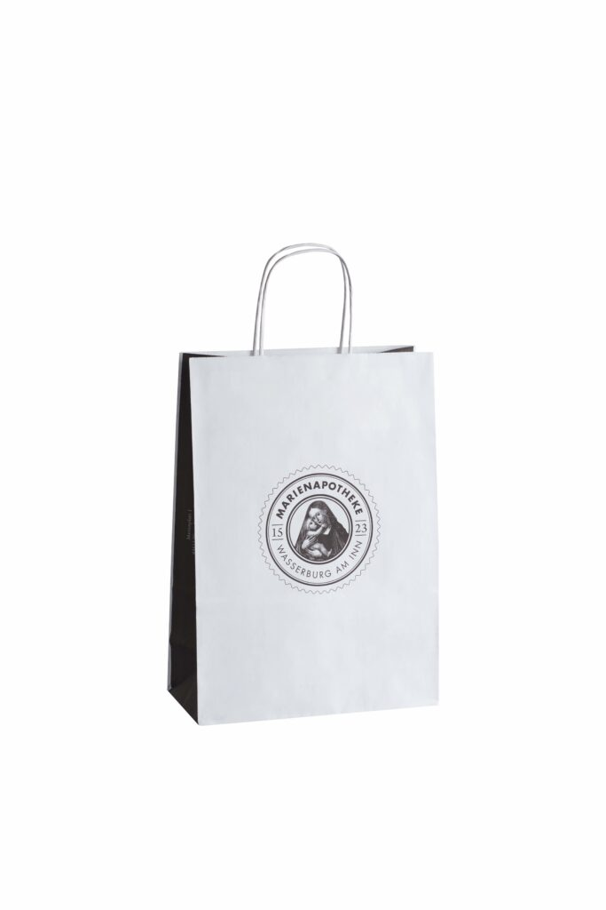 Papierkordeltasche Logo Individuell Druck Werbemittel Papiertasche Einkaufstasche bedruckbar Werbung Papier Kordel Tragehenkel Weiß Blau Rot Schwarz Gelb Grün Blau Pink Grau