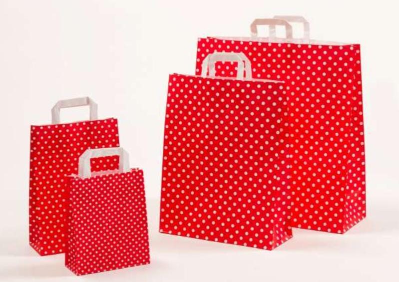 Papiertasche Polka Dots Rot Rosa Grau Mint Orange Pink Hellblau Grün Natur Braun Weiß Schwarz Papierhenkeltasche Einkaufstasche Shopping-Bag Tragetasche Papier