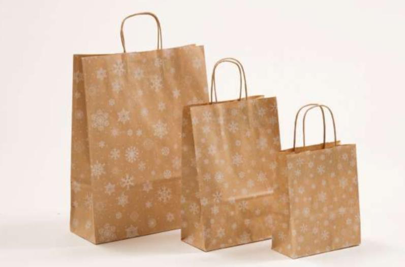 Papierkordeltaschen Weihnachten Papiertasche Papier Braun Weiß Schneeflocken Rot Einkaufstasche