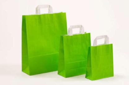 Papierhenkeltasche Papiertasche Einkaufstasche Werbemitel Papier Nachhaltig schön günstig preiswert schnelle Lieferung unterschiedliche Größenformate Grün Hellgrün weiße Papiertagehenkel