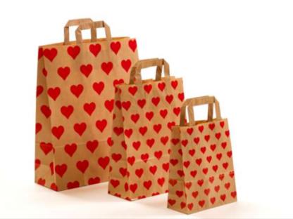 Papierhenkeltasche mit Herzen, Braun, Rot, Rote Herzen, Tragetasche, Papiertasche, Valentine, Valentinstag, Liebe