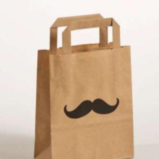 Papierhenkeltasche Braun Natur Mustache Eikaufstasche schnelle Lieferung günstig