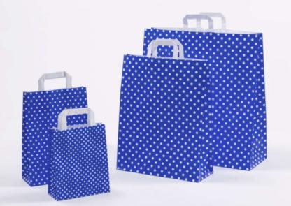 Polka Dots Papierhenkeltasche Einkaufstasche Papiertüte Werbung Punkte Pünktchen