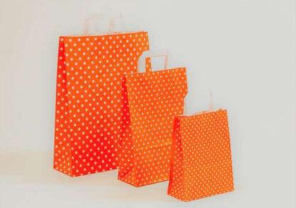 Papierhenkeltasche Papiertasche Einkaufstasche Werbemitel Papier Nachhaltig schön günstig preiswert schnelle Lieferung unterschiedliche Größenformate Orange Sterne Sternemotiv bedruckt druck weiße Papiertagehenkel