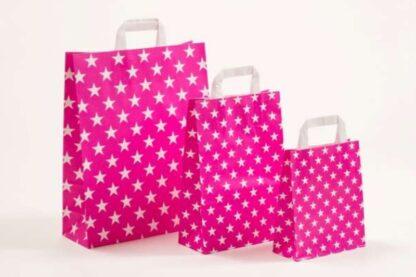 Papierhenkeltasche Sterne Stars Druck Einkaufstasche Pink weiß Papier schnelle Lieferung günstig preiswert kompetent