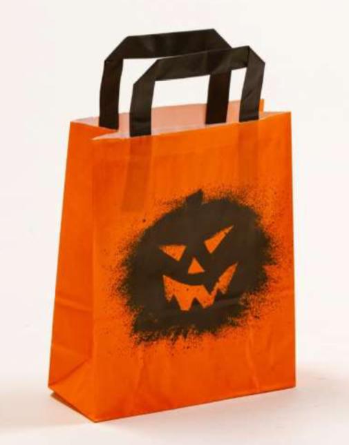Papiertasche Papiertragetasche Papierhenkeltasche Halloween Orange Schwarz bedruckte Papierhenkeltasche