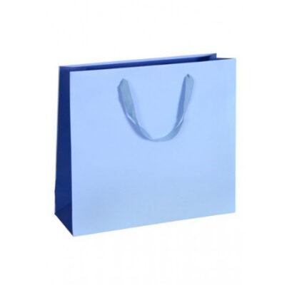 Exklusive Papiertragetasche Glamourös Baumwollbänder Werbemittel hochwertig Werbung günstig Größenformate schnelle Lieferung günstig kompetent stabil Einkaufstasche Hellblau