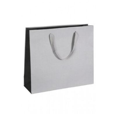 Exklusive Papiertragetasche Glamourös Baumwollbänder Werbemittel hochwertig Werbung günstig Größenformate schnelle Lieferung günstig kompetent stabil Einkaufstasche Silber