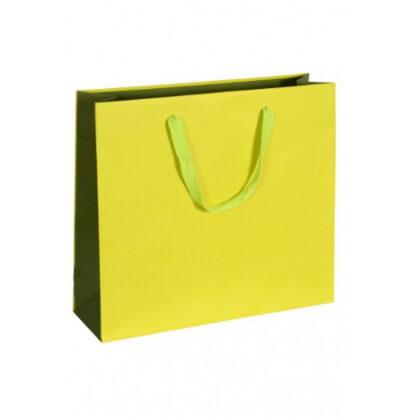 Exklusive Papiertragetasche Glamourös Baumwollbänder Werbemittel hochwertig Werbung günstig Größenformate schnelle Lieferung günstig kompetent stabil Einkaufstasche Grüngelb Boutique Taschen