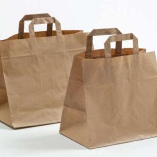 Gastro-Tasche Take-Away Tasche Pizza Bäckerei Konditorei Gastronomie Food Essen TransportierenPapierhenkeltaschen Papiertasche Einkaufstaschen Werbemittel unbedruckt Papier nachhaltig umweltbewusst stabil günstig preiswert langlebig kompetent viele Größenformate schnelle Lieferung natur braun