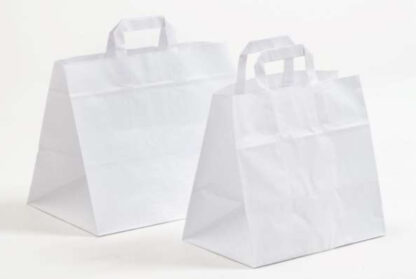 Gastro-Tasche Take-Away Tasche Pizza Bäckerei Konditorei Gastronomie Food Essen TransportierenPapierhenkeltaschen Papiertasche Einkaufstaschen Werbemittel unbedruckt Papier nachhaltig umweltbewusst stabil günstig preiswert langlebig kompetent viele Größenformate schnelle Lieferung weiß