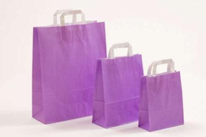 Papierhenkeltasche Papiertasche Einkaufstasche Werbemitel Papier Nachhaltig schön günstig preiswert schnelle Lieferung unterschiedliche Größenformate Lila weiße Papiertagehenkel
