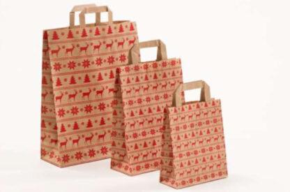 Papierhenkeltasche Weinachten Christbaum Tannenbaum Schneeflocken Rot Natur Braun unterschiedlice Größen hochwertig Werbemittel schnelle Lieferung Reh Elch Motiv günstig preiswert