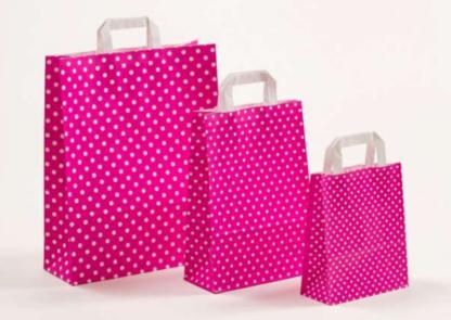 Papierhenkeltasche Polka Dots Pink weiß Druck bedruckte Einkaufstasche hübsch günstig preiswert schnelle Lieferung Größenformate zuverlässig kompetent