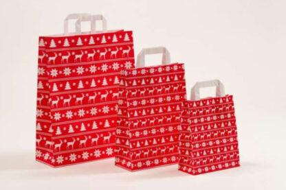 Papierhenkeltasche Weinachten Christbaum Tannenbaum Schneeflocken Rot weiß unterschiedlice Größen hochwertig Werbemittel schnelle Lieferung Reh Elch Motiv günstig preiswert