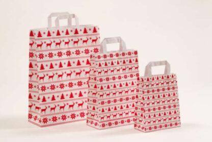Papierhenkeltasche Weinachten Elch Christbaum Tannenbaum Schneeflocken Rot weiß unterschiedliche Größen hochwertig Werbemittel schnelle Lieferung Reh Elch Motiv günstig preiswert