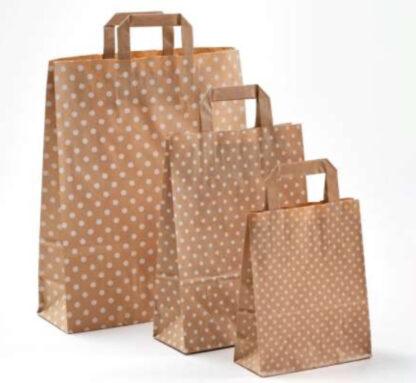 Papierhenkeltasche Papiertragetasche SternePapierhenkeltasche Polka Dots Einkaufstasche Papier braun natur weiß Papier schnelle Lieferung günstig preiswert kompetent