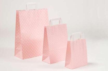 Papierhenkeltasche Papiertasche Einkaufstasche Werbemitel Papier Nachhaltig schön günstig preiswert schnelle Lieferung unterschiedliche Größenformate Rosa Sterne Sternemotiv bedruckt Druck weiße Papiertagehenkel