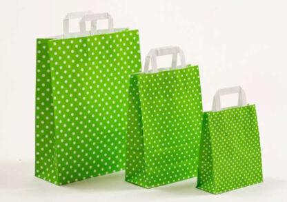 Papierhenkeltasche Papiertasche Einkaufstasche Werbemitel Papier Nachhaltig schön günstig preiswert schnelle Lieferung unterschiedliche Größenformate Grün Sterne Sternemotiv Stars bedruckt DRuck weiße Papiertagehenkel