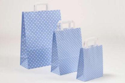 Papierhenkeltasche Papiertragetasche Sterne Stars Sternemotiv Einkaufstasche Papier hellblau weiß Papier schnelle Lieferung günstig preiswert kompetent