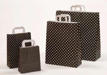 Papierhenkeltasche Polka Dots Einkaufstasche Papier braun schwarz weiß Papier schnelle Lieferung günstig preiswert kompetent