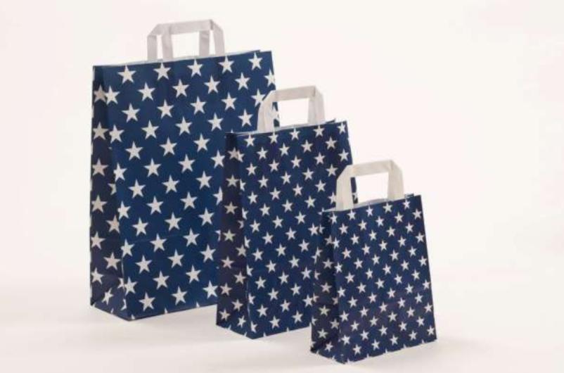 Papierhenkeltasche Sterne Stars Druck Einkaufstasche blau Pink Grau Papier Robust Schnelle Lieferung preiswert günstigschnelle Lieferung günstig preiswert kompetent Größenformate Trsuted Shops