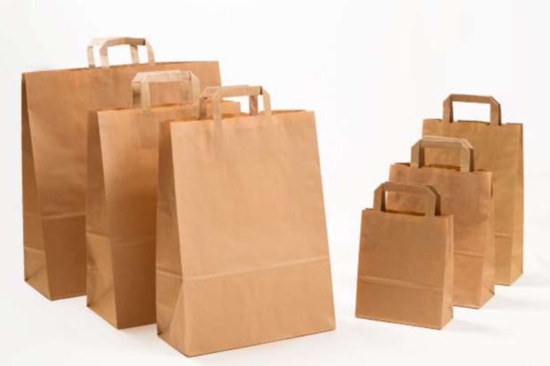 Papierhenkeltaschen Braun Einkaufstasche Shopping Bag Flachhenkel Papiertasche Papiertragetasche