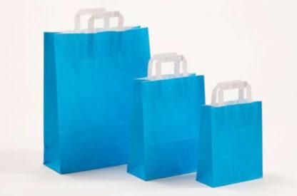 Papierhenkeltasche Papiertasche Einkaufstasche Werbemitel Papier Nachhaltig schön günstig preiswert schnelle Lieferung unterschiedliche Größenformate Blau weiße Papiertagehenkel