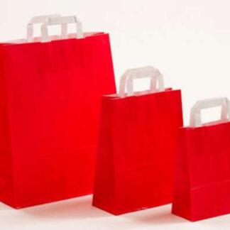 Papierhenkeltasche Papiertasche Einkaufstasche Werbemitel Papier Nachhaltig schön günstig preiswert schnelle Lieferung unterschiedliche Größenformate Rot weiße Papiertagehenkel