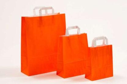 Papierhenkeltasche Papiertasche Einkaufstasche Werbemitel Papier Nachhaltig schön günstig preiswert schnelle Lieferung unterschiedliche Größenformate Rot Orange weiße Papiertagehenkel