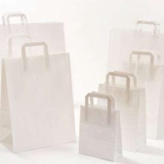 Papierhenkeltasche weiß natur viele Größenformate schnelle Lieferung umweltbewusst nachhaltig Papiertasche Einkaufstüte schnelle Lieferung günstig preiswert kompetent Werbemittel