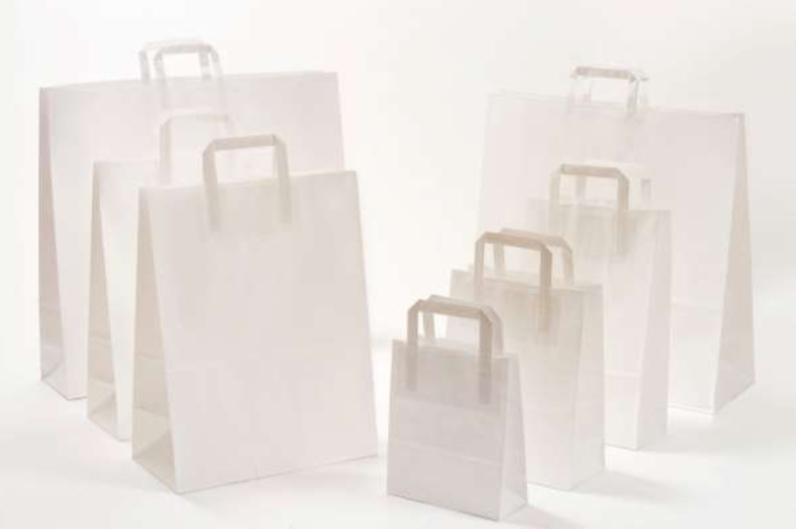 Papierhenkeltaschen Weiß White Papierhenkel Einkaufstüte Tragetasche Papiertasche günstig preiswert