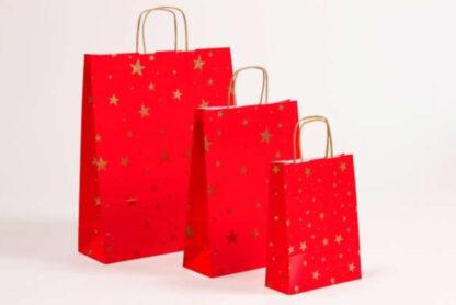 Papierkordeltasche Werbemittel Xmas Weihnachten Braun Schneekristalle Sterne Weihnachtssterne Rot Einkaufstasche Papiertasche günstig schnelle Lieferung kompetent preiswert günstig Größenformate