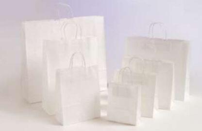 Papierhenkeltaschen Papiertasche Einkaufstaschen Werbemittel unbedruckt Papier nachhaltig umweltbewusst stabil günstig preiswert langlebig kompetent viele Größenformate schnelle Lieferung weiß