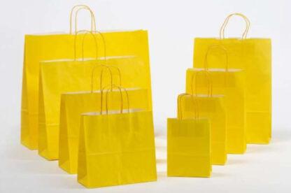 Papierkordeltaschen Werbung Tragetasche Papiertragetasche Werbemittel Einkaufstaschen Papier hochwertig nachhaltig viele Größenformate schnelle Lieferung günstig preiswert kompetent Gelb umweltbewusst Verpackung