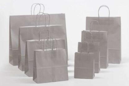 Papierkordeltaschen Werbung Tragetasche Papiertragetasche Werbemittel Einkaufstaschen Papier hochwertig nachhaltig viele Größenformate schnelle Lieferung günstig preiswert kompetent Grau umweltbewusst Verpackung