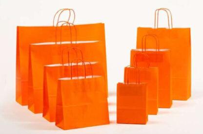 Papierkordeltaschen Werbung Tragetasche Papiertragetasche Werbemittel Einkaufstaschen Papier hochwertig nachhaltig viele Größenformate schnelle Lieferung günstig preiswert kompetent Orange umweltbewusst Verpackung