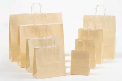 Papierkordeltaschen Werbung Tragetasche Papiertragetasche Werbemittel Einkaufstaschen Papier hochwertig nachhaltig viele Größenformate schnelle Lieferung günstig preiswert kompetent Creme Cremefarben umweltbewusst Verpackung