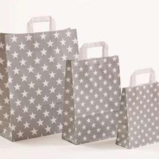Papierhenkeltasche Sterne Stars Druck Einkaufstasche grau weiß Papier schnelle Lieferung günstig preiswert kompetent