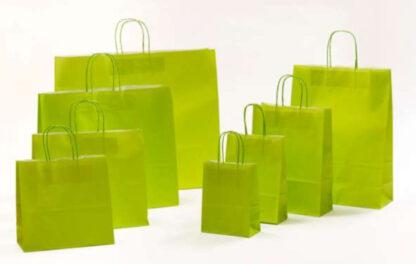 Papierkordeltaschen Werbung Tragetasche Papiertragetasche Werbemittel Einkaufstaschen Papier hochwertig nachhaltig viele Größenformate schnelle Lieferung günstig preiswert kompetent Grün hellgrün umweltbewusst Verpackung