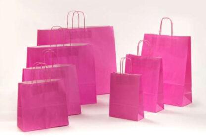 Papierkordeltaschen Werbung Tragetasche Papiertragetasche Werbemittel Einkaufstaschen Papier hochwertig nachhaltig viele Größenformate schnelle Lieferung günstig preiswert kompetent Pink Magenta umweltbewusst Verpackung
