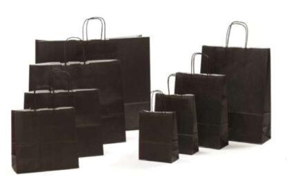 Papierkordeltaschen Werbung Tragetasche Papiertragetasche Werbemittel Einkaufstaschen Papier hochwertig nachhaltig viele Größenformate schnelle Lieferung günstig preiswert kompetent schwarz umweltbewusst Verpackung