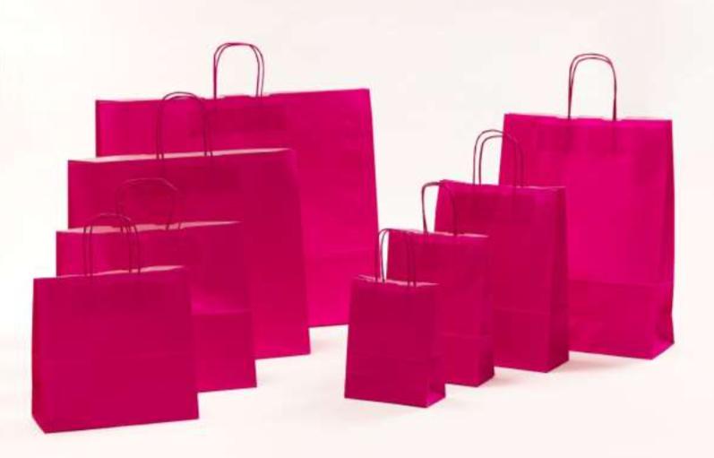 Papierkordeltaschen Werbung Tragetasche Papiertragetasche Werbemittel Einkaufstaschen Papier hochwertig nachhaltig viele Größenformate schnelle Lieferung günstig preiswert kompetent Magenta Pink