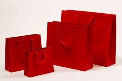 Exklusive Papiertragetasche Glamourös Baumwollbänder Werbemittel hochwertig Werbung günstig Größenformate schnelle Lieferung günstig kompetent stabil Einkaufstasche Rot