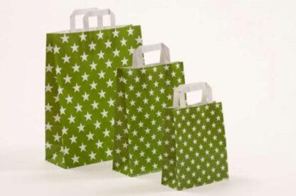 Papierhenkeltasche Papiertasche Einkaufstasche Werbemitel Papier Nachhaltig schön günstig preiswert schnelle Lieferung unterschiedliche Größenformate Grün Sterne Stars Sternemotiv Druck bedruckt besonders weiße Papiertagehenkel