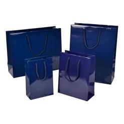 Papierkordeltasche Hochganz Glänzend Lack-Optik Exklusiv hochwertig glamourös Transportieren Papiertragetasche Papiertasche Einkaufstaschen Werbemittel unbedruckt Papier nachhaltig umweltbewusst stabil günstig preiswert langlebig kompetent viele Größenformate schnelle Lieferung Blau
