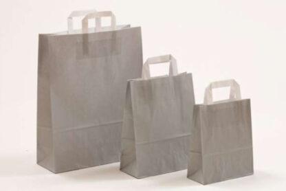 Papierhenkeltasche Papiertasche Einkaufstasche Werbemitel Papier Nachhaltig schön günstig preiswert schnelle Lieferung unterschiedliche Größenformate Grau weiße Papiertagehenkel
