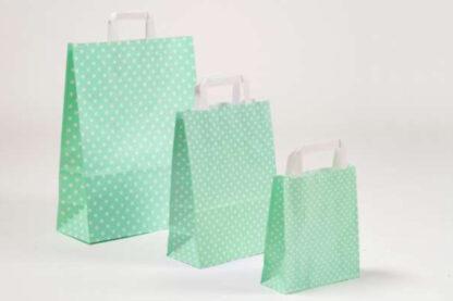Papierhenkeltasche Papiertasche Einkaufstasche Werbemitel Papier Nachhaltig schön günstig preiswert schnelle Lieferung unterschiedliche Größenformate Mint Sterne Sternemotiv Druck bedruckt weiße Papiertagehenkel
