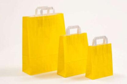 Papierhenkeltasche Papiertasche Einkaufstasche Werbemitel Papier Nachhaltig schön günstig preiswert schnelle Lieferung unterschiedliche Größenformate Gelb weiße Papiertagehenkel